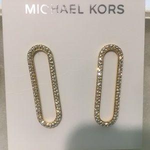 Michael KIRS Gold Tone Drop Long Hoop Earrings
